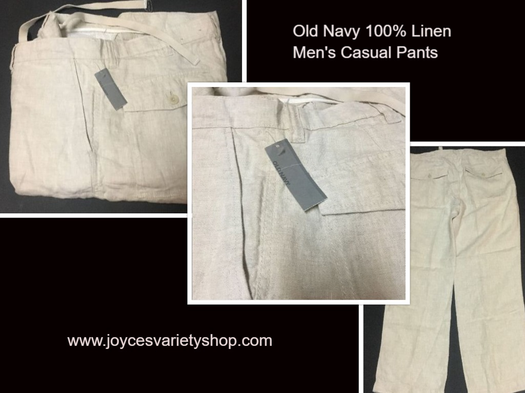 "Old Navy Men's Linen Casual Khaki Beach Pants SZ 36"" x 32"""