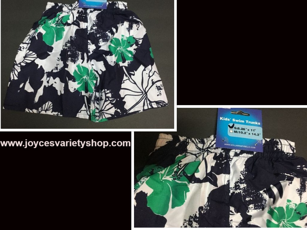 "Boy's Swim Shorts Trunks Blue, Green & White Floral 8.26"" x 11"" SZ 2/3 Toddler"