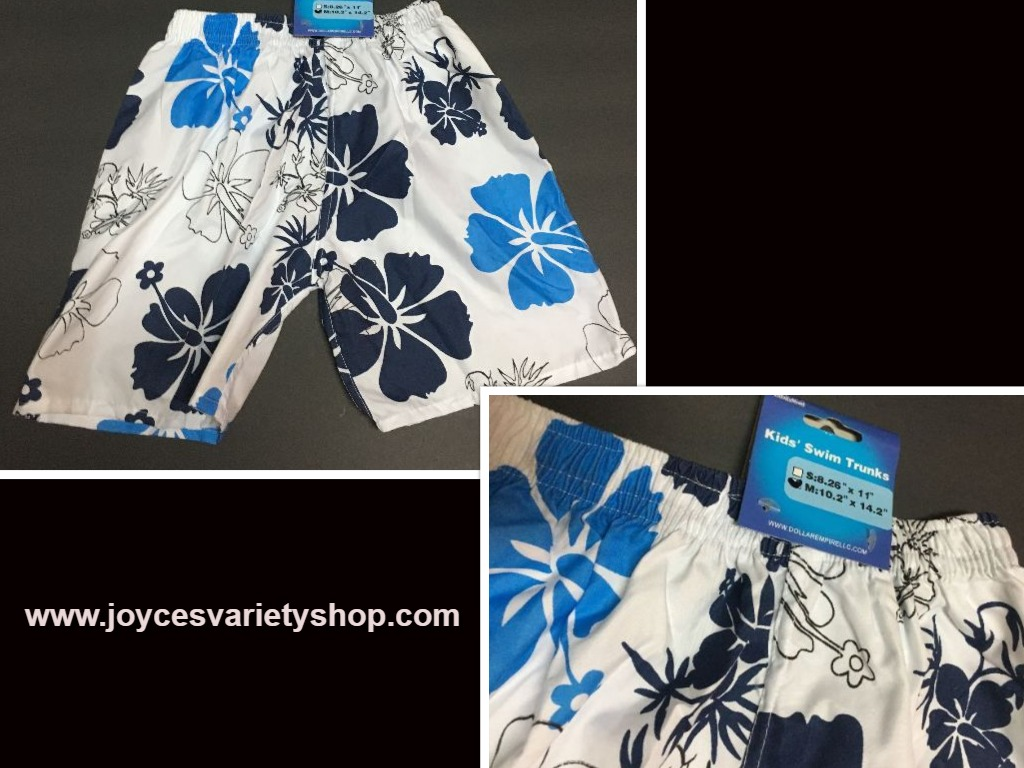 "Boy's Swim Shorts Trunks Blue & White Floral 10.2"" x 14.2"" SZ 3/4 Toddler"