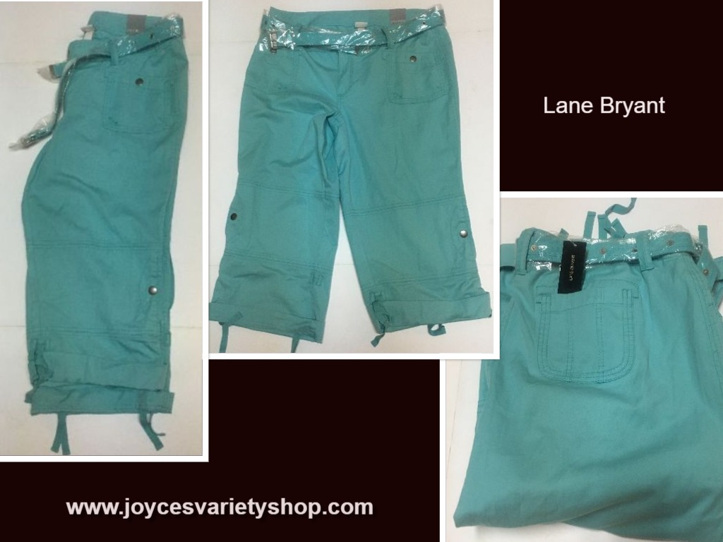 Lane Bryant Venezia Cropped Capri Pants w/Belt SZ 18 Aqua Blue