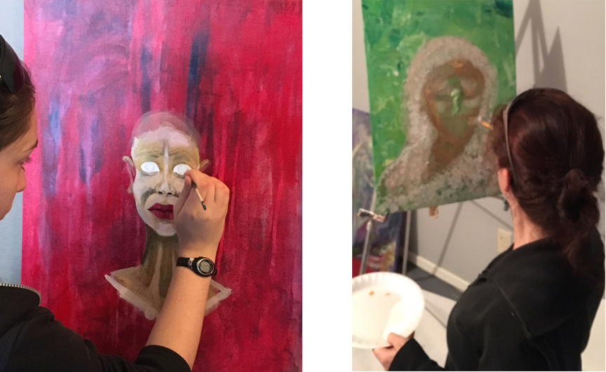student painting her goddess