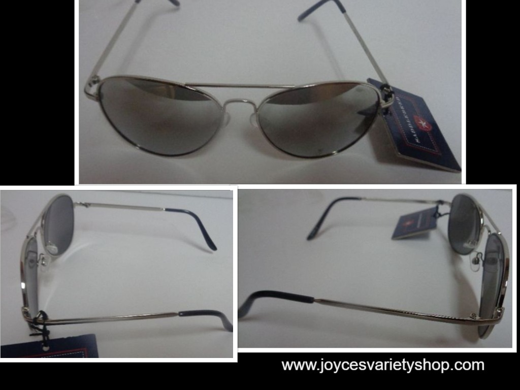 Silver Metal Mirrored Sunglasses NWT Saddlebred Free Shipping 100% UV