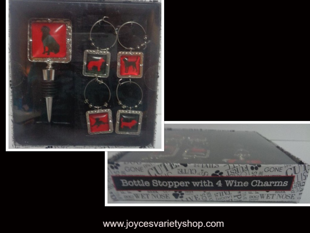 Dogs Wine Stopper & Charms Set