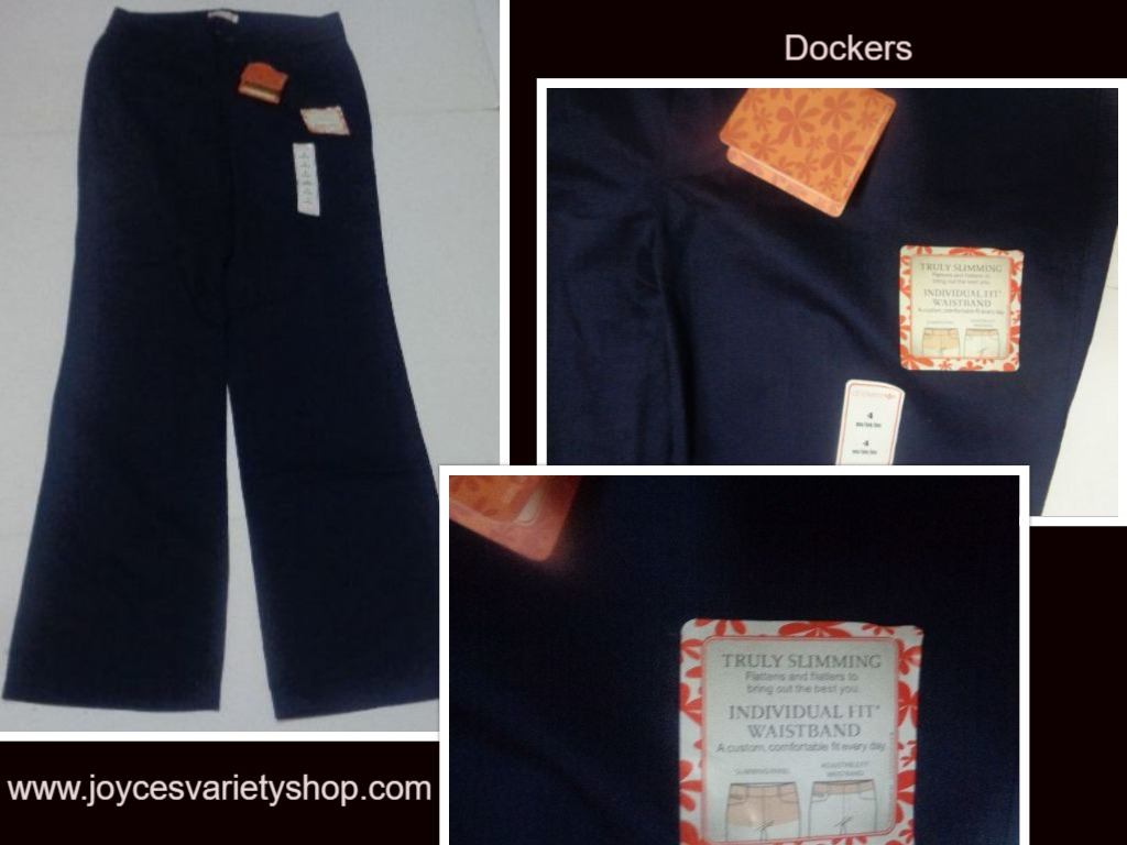 Ladies Dockers NWT Navy Blue 4M Slimming Dress Slacks Pants