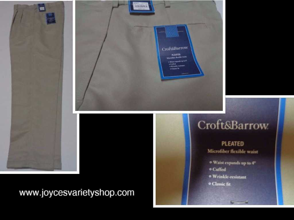 Men's Beige Khaki Slacks Pants CROFT & BARROW NWT Sz 32x32