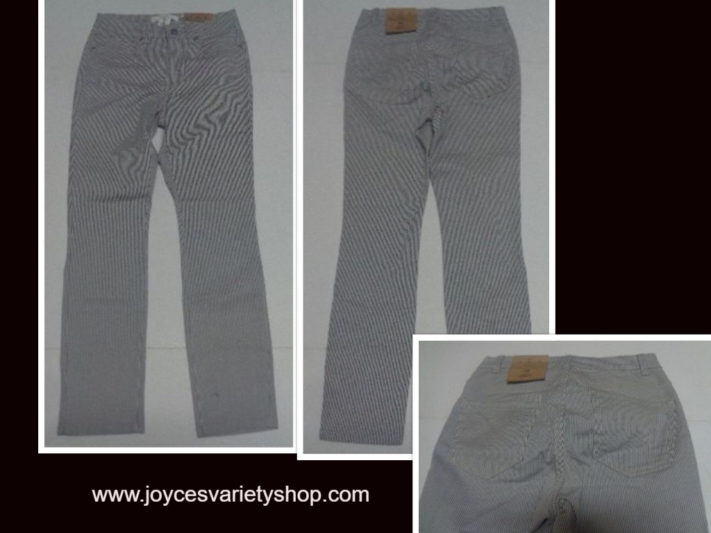 H&M Pinstriped Jeans Juniors Sz 6 Slim Fit Gray