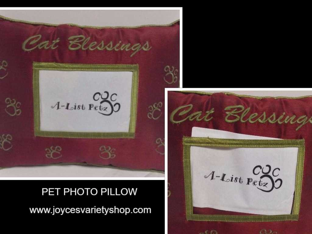 Pet Pillow With Photo Pocket CAT BLESSINGS Red