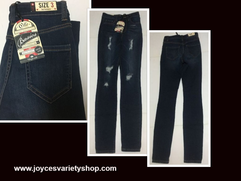 Girls Skinny Blue Jeans Cello Jeans Juniors Sz 3 Distressed Waist 24""