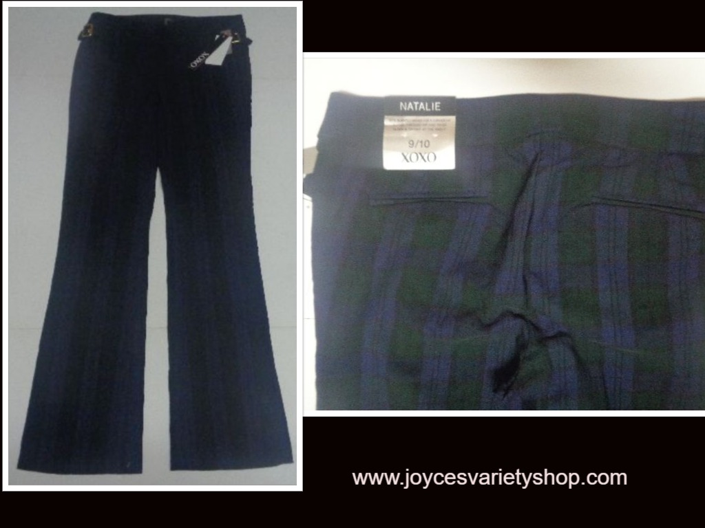 XOXO Natalie Women's Size 9/10 Pants NWT Blue & Green Plaid