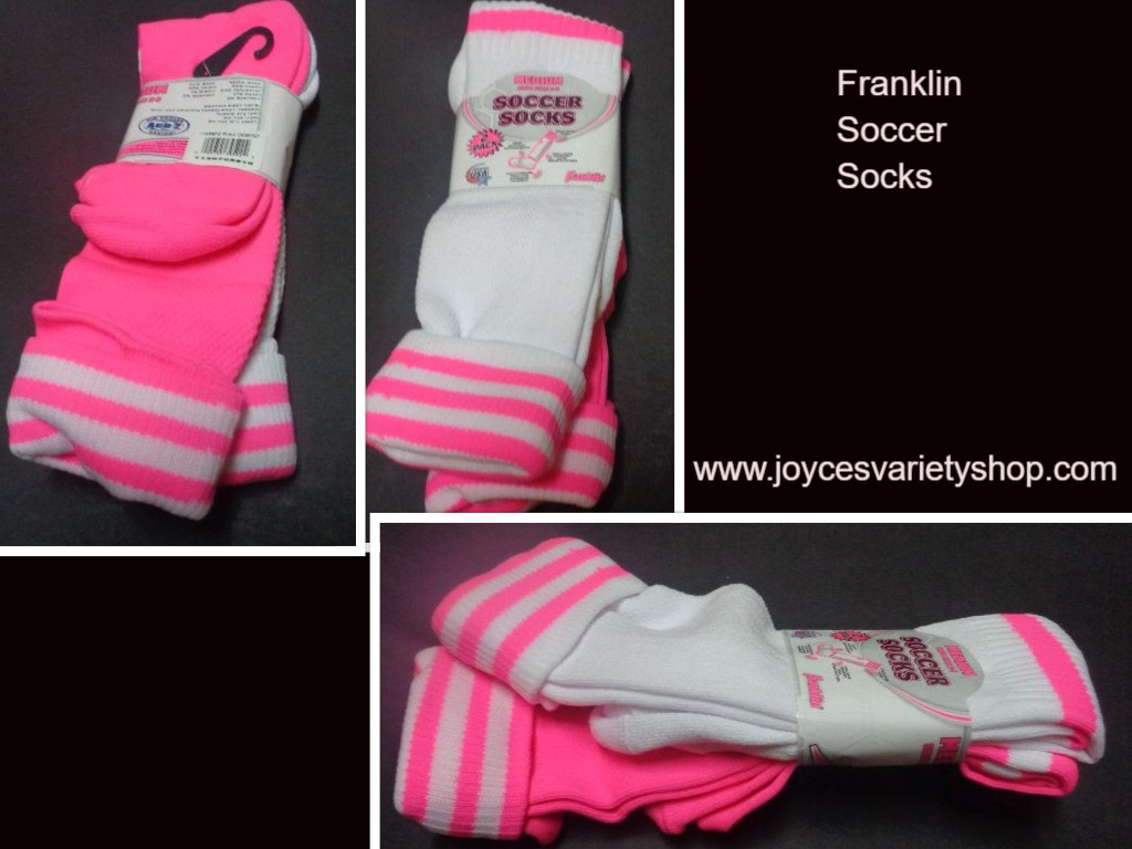 Franklin Girls Soccer Socks 2 Pack Pink & White Shoe Sz 2-5