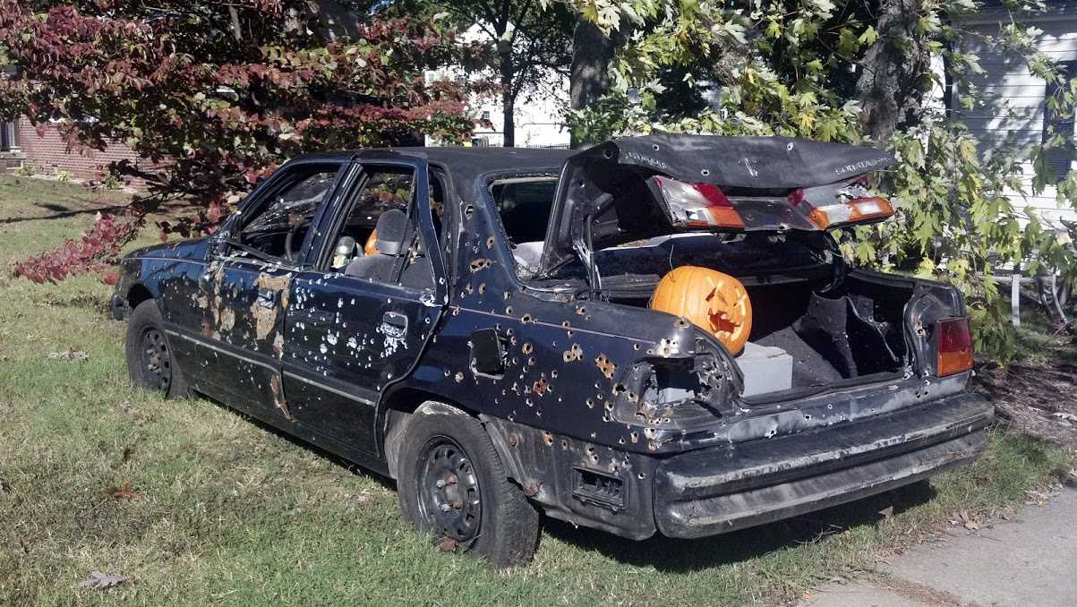 Car shot up with gunfire for halloween