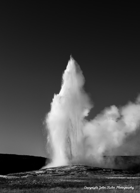 Old Faithful in Black & White, During Eruption
