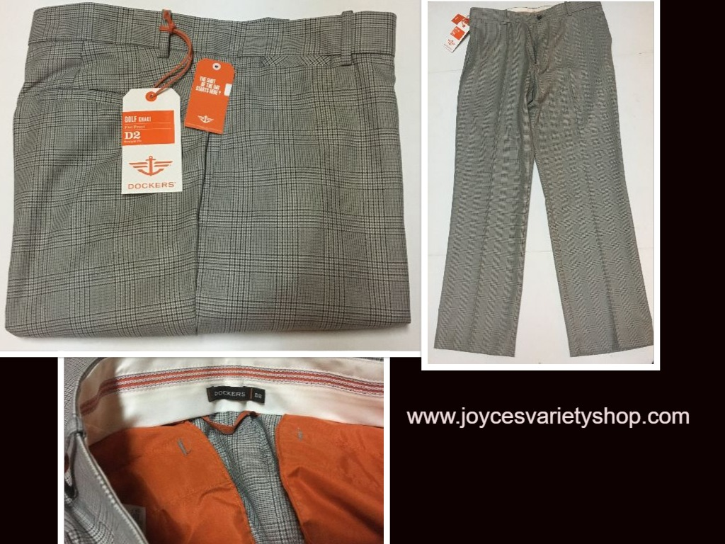 Men's Dockers Golf Slacks Pants Gray Plaid 36 x 32 No Wrinkles Straight Fit