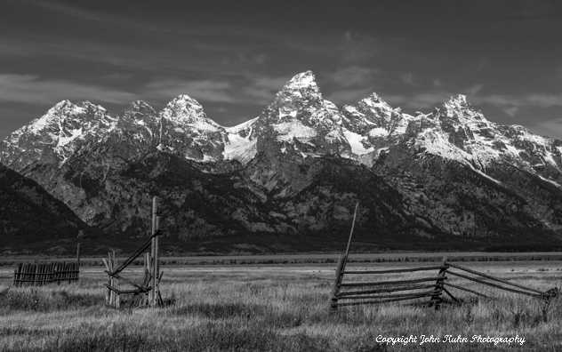 Teton Range and Fence Line in Black & White