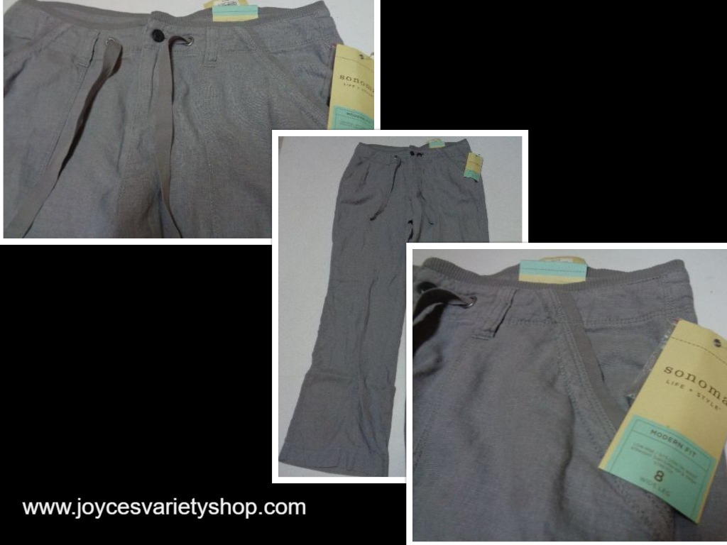 Sonoma Modern Fit Casual Pants Women's Size 8 NWT Low Rise Wide Leg Gray