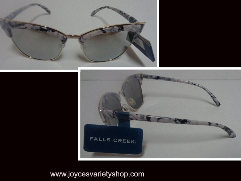 Falls Creek Faux Marble Sunglasses NWT 100% UV Protection