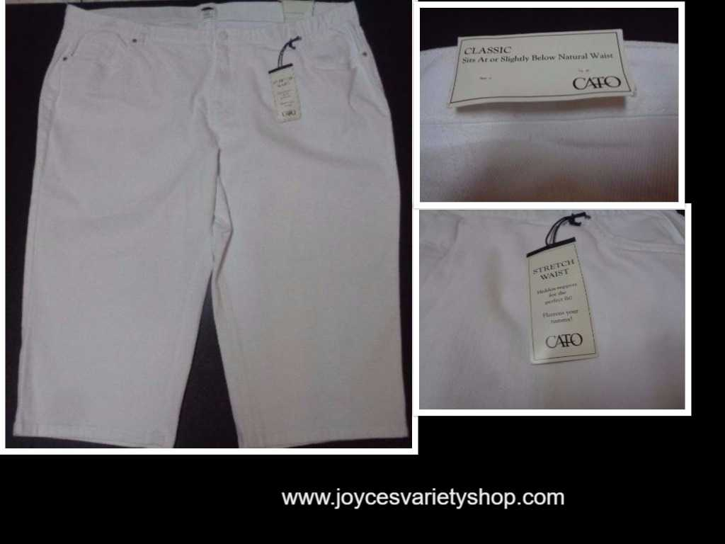 Cato White Capri NWT Stretch Waist SZ 28+ Hidden Support Perfect Fit Flattens