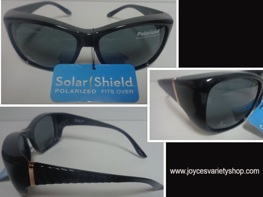Solar Shield Black Polarized Sunglasses NWT Size Large Free Shipping