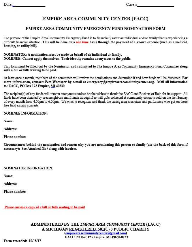 Emergency Fund Nomination form