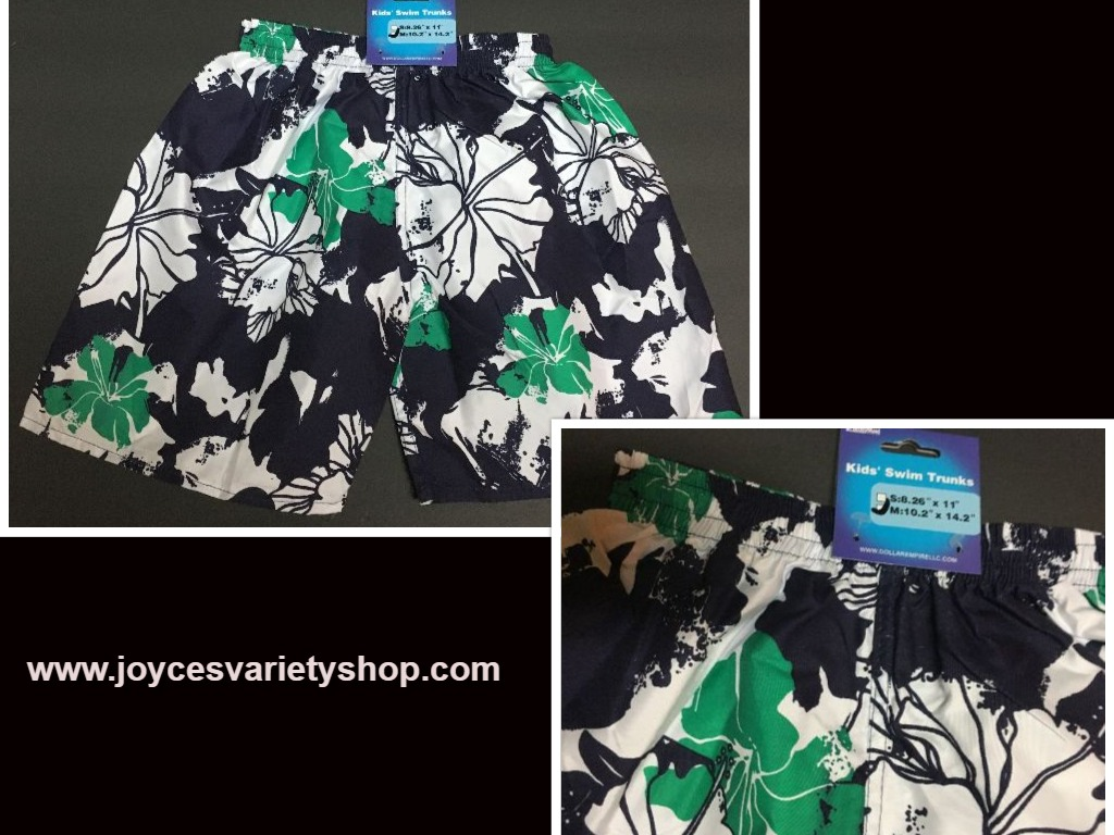 "Boy's Swim Shorts Trunks Blue, Green & White Floral 10.2"" x 14.2"" SZ 3/4 Toddler"