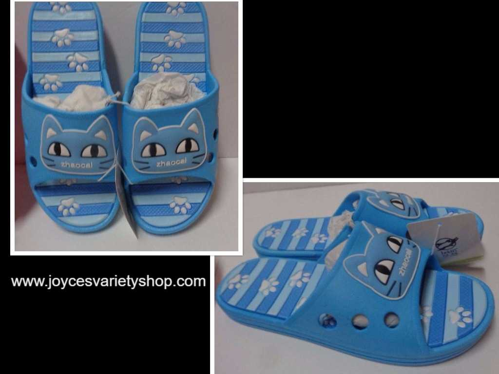Women's Slip On Sandals Shoes Kitty Cat Face Blue Sz 9 NWT
