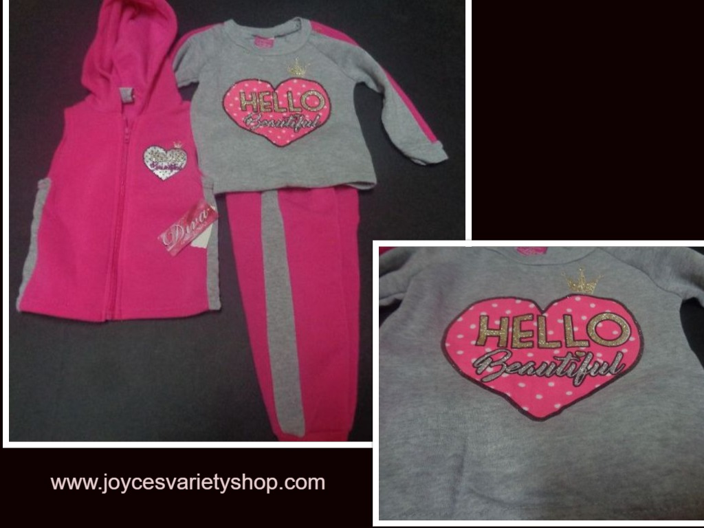 Toddler Diva HELLO BEAUTIFUL 3 Piece Suit NWT Pink Sz 2T