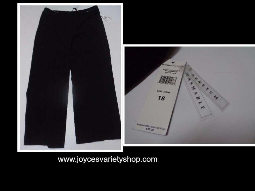 Norton McNaughton Women's Black Slacks NWT SZ 18 Stretch Pants