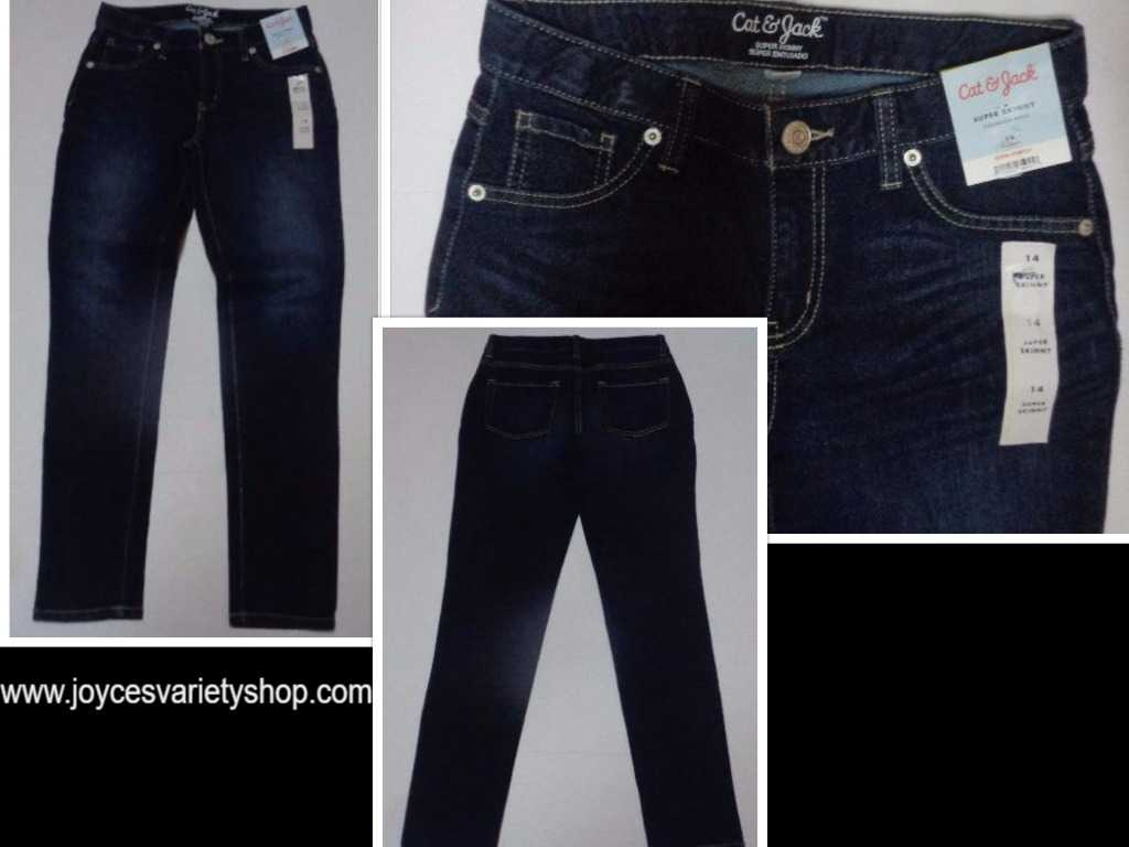 Cat & Jack Super Skinny Jeans NWT Super Stretch SZ Youth 14 Dark Blue