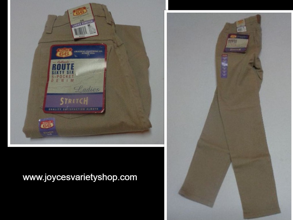 Route 66 Five Pocket Denim Ladies Stretch Sz 5/6 NWT Khaki Beige Made USA