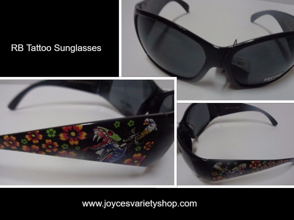 RB Tattoo Sunglasses Black With Tattoo Sides NWT 100% UV Protection
