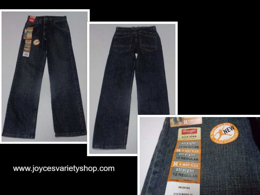 Boy's Wrangler Straight NWT Size 12 Reg Blue Jean 4 Way Flex Adjust Waistband