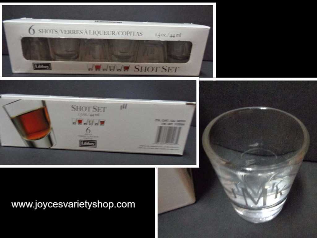 Libbey JMK Etched Shot Glasses Gift Set 6/1.5 oz Made In USA
