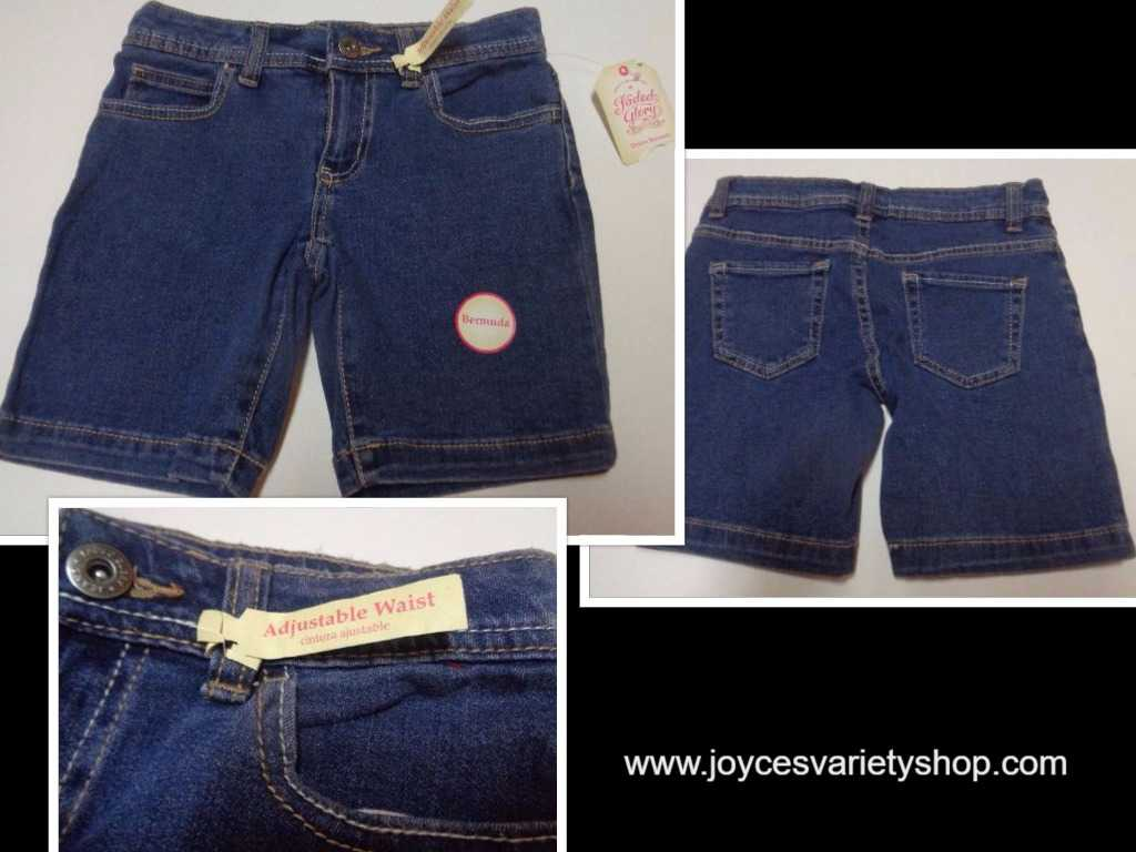 Faded Glory Boys Blue Jean Shorts NWT Youth SZ 7 Regular Bermuda Adj Waist