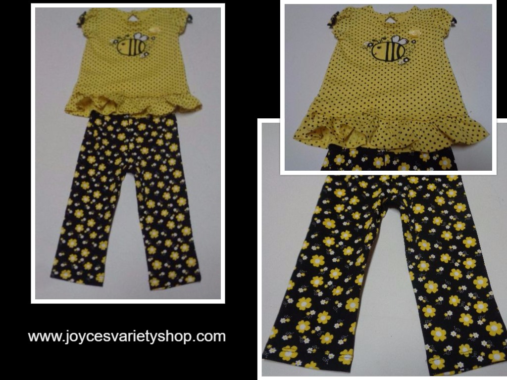 Baby Gear Infant Two Piece 12 Months NWOT Top/Pants Black/Yellow Flower Print