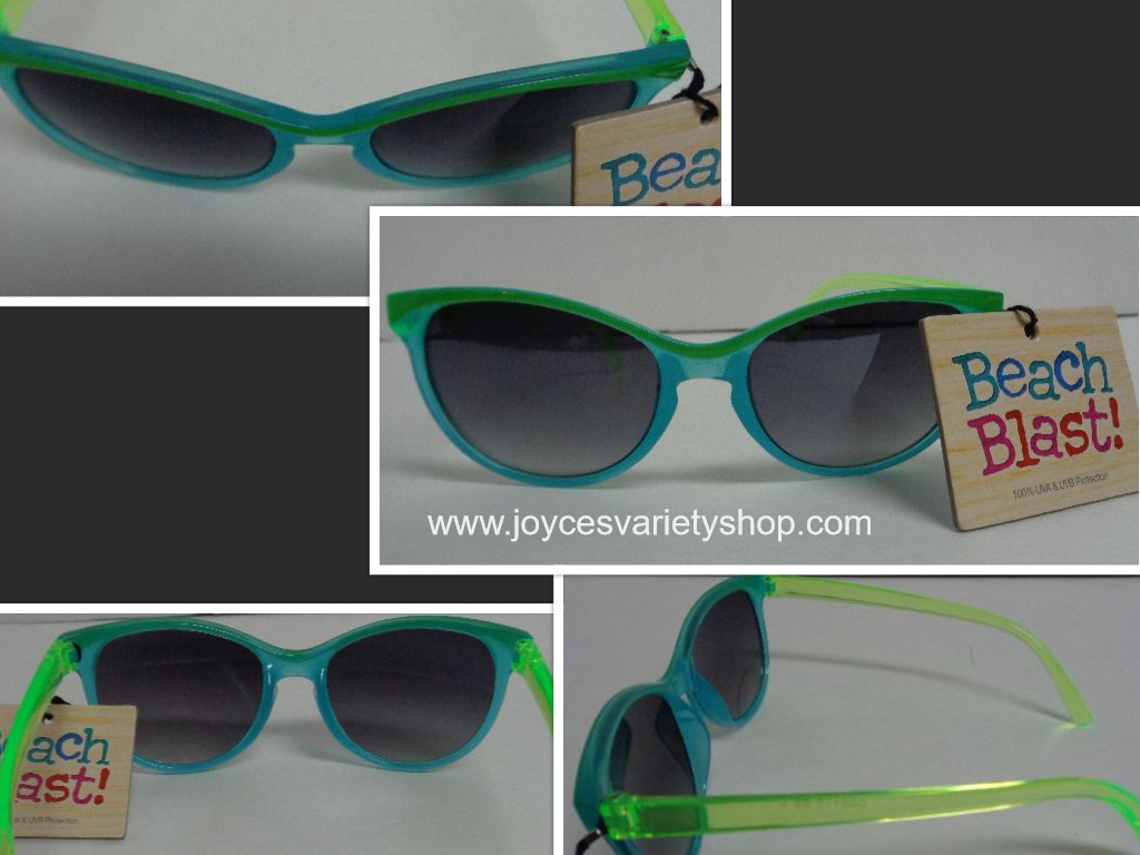 Foster Grant Beach Blast Sunglasses 100% UVA UVB Protection Blue & Green