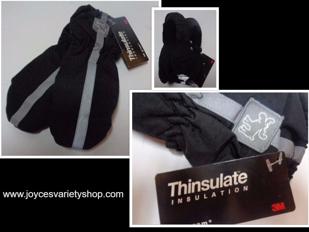 Thinsulate Insulation Youth Winter Mittens NWT 40 gram Black Gloves Faded Glory