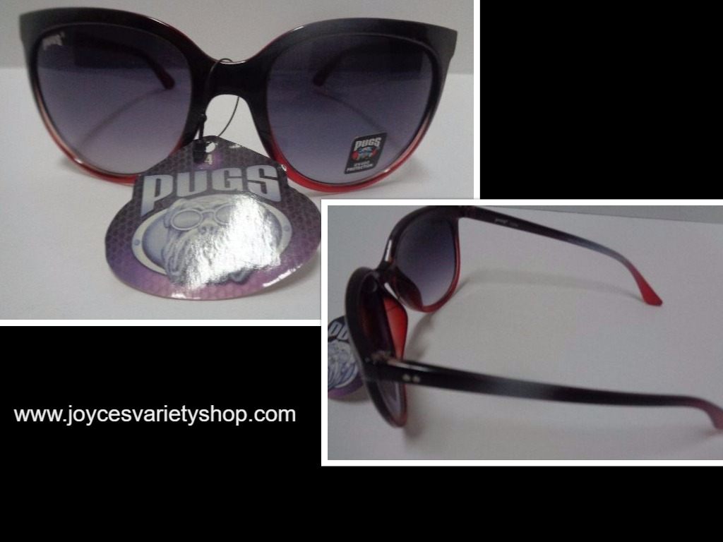 PUGSGEAR Women's Sunglasses Gradient Red & Black NWT UV400 Protection