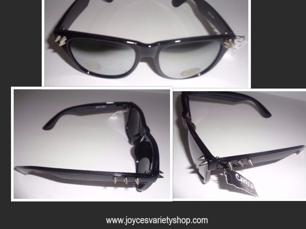 Carbon Elements Black Mirrored Spike Sunglasses NWT Max UV Protection