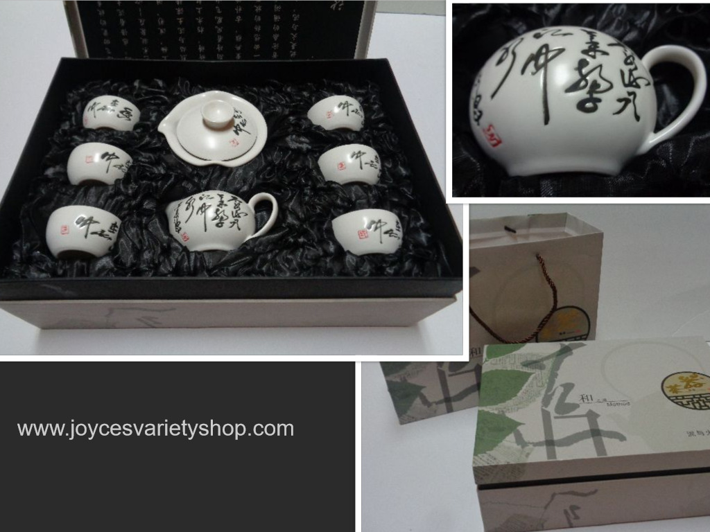 Porcelain China Tea Set Teapot Filter Cups New in Box Rare Wuxi China