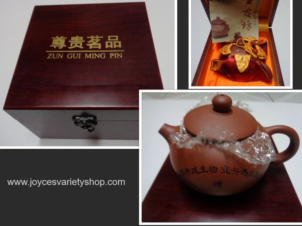 Clay China Teapot New in Rosewood Box & Carrying Case