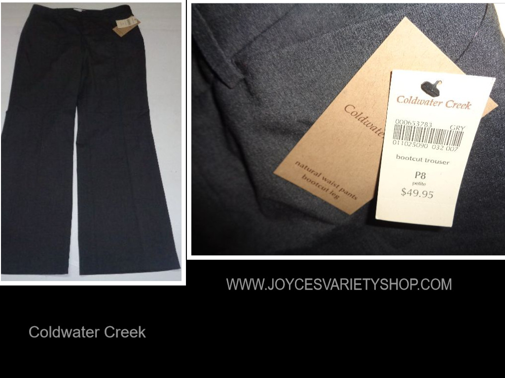 Coldwater Creek Women's Boot Cut Slacks NWT Gray Sz P8