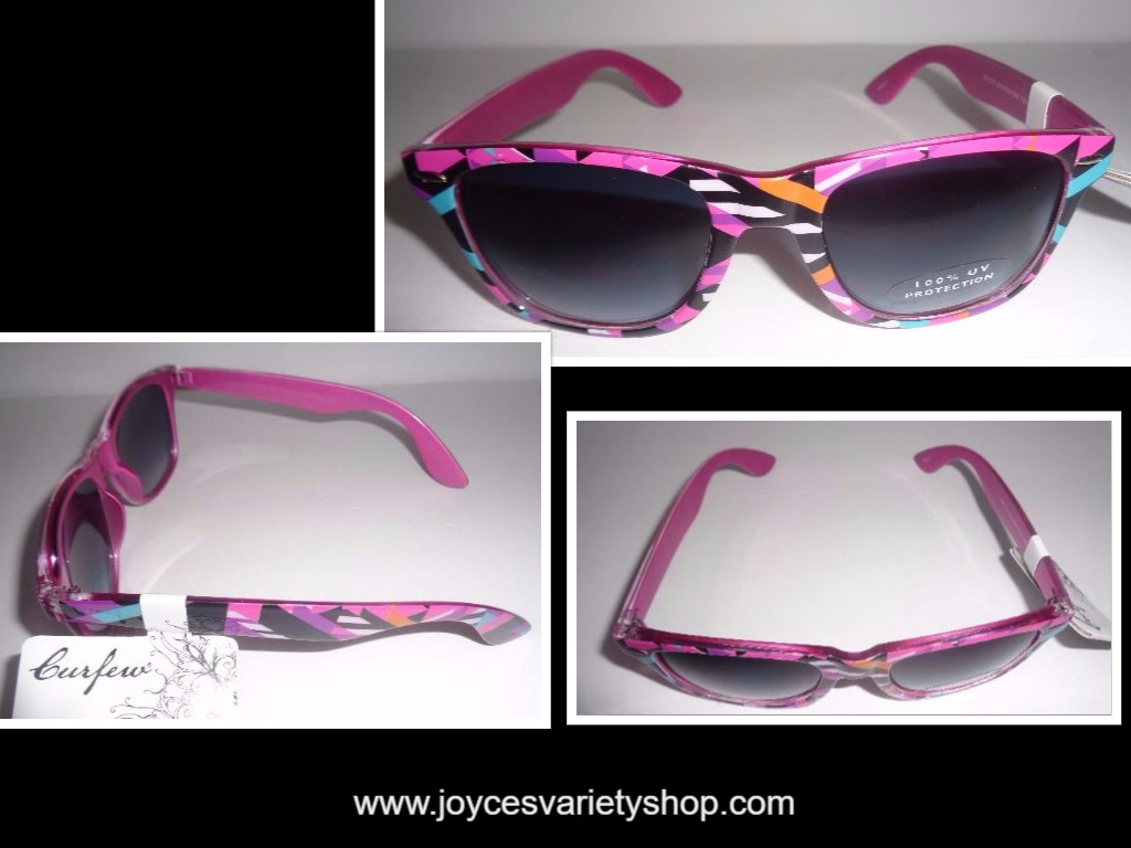 Curfew Sunglasses NWT 100% UV Multi-Color Black & Pink Confetti