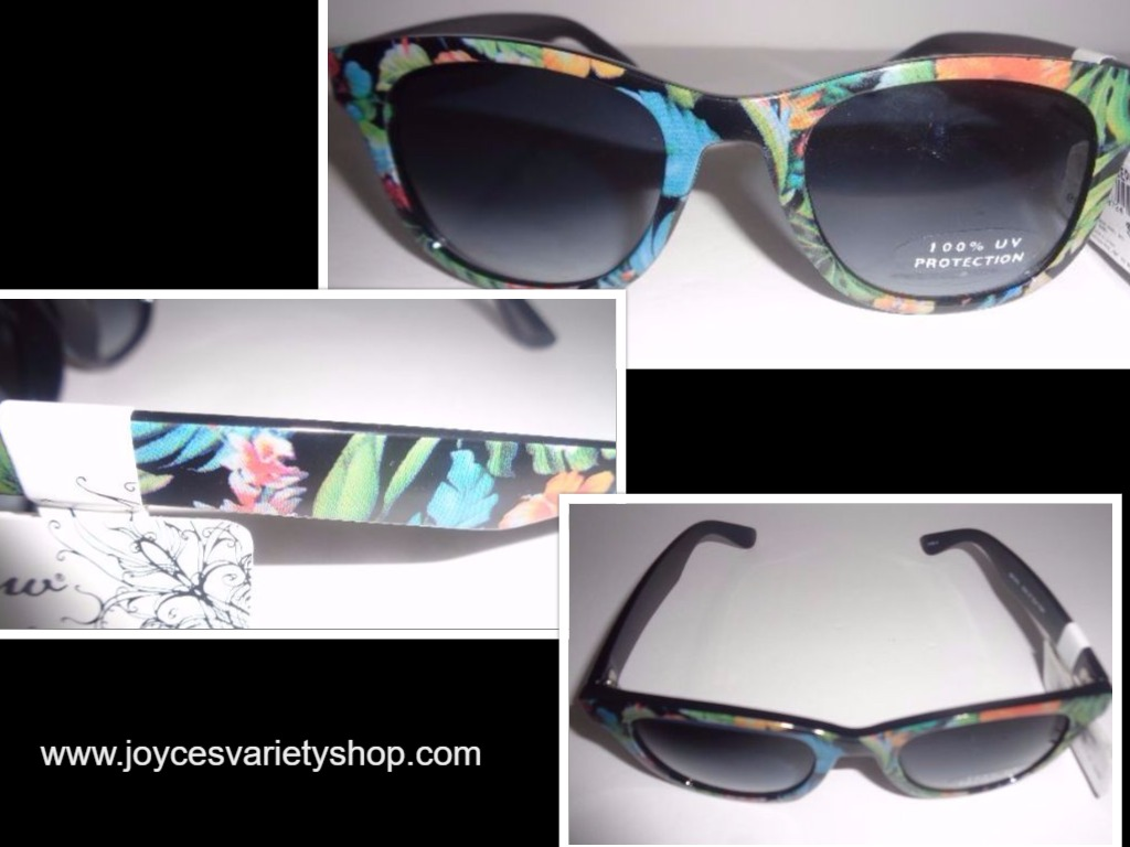 Curfew Sunglasses NWT 100% UV Multi-Color Black & Green Floral
