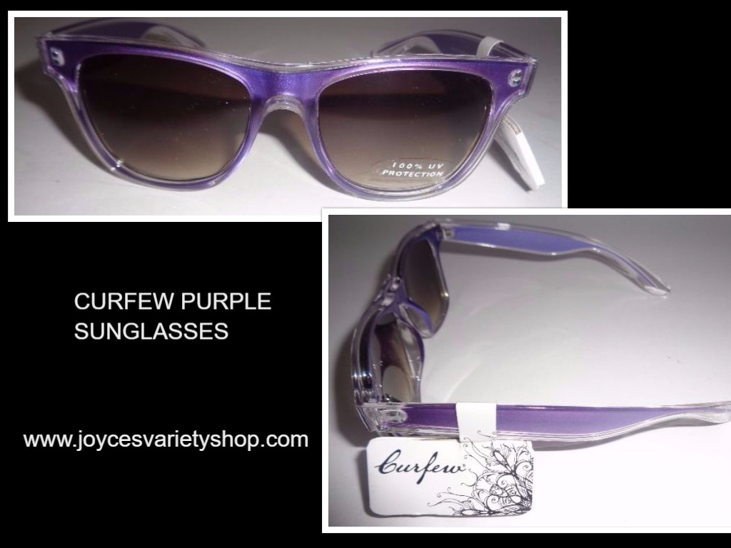 Women's Purple & Clear Two Tone Sunglasses NWT CURFEW 100% UV Protection