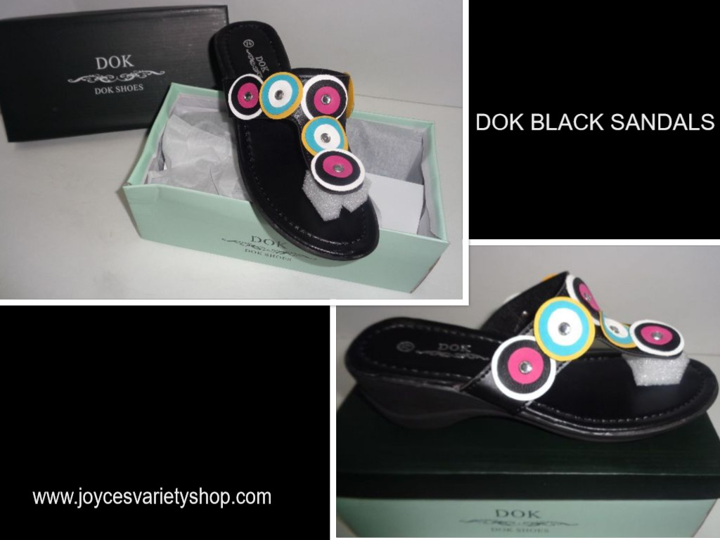 Women's Black Mule Sandals MultiColor Accent DOK NIB Sz 6 & 7.5 Available