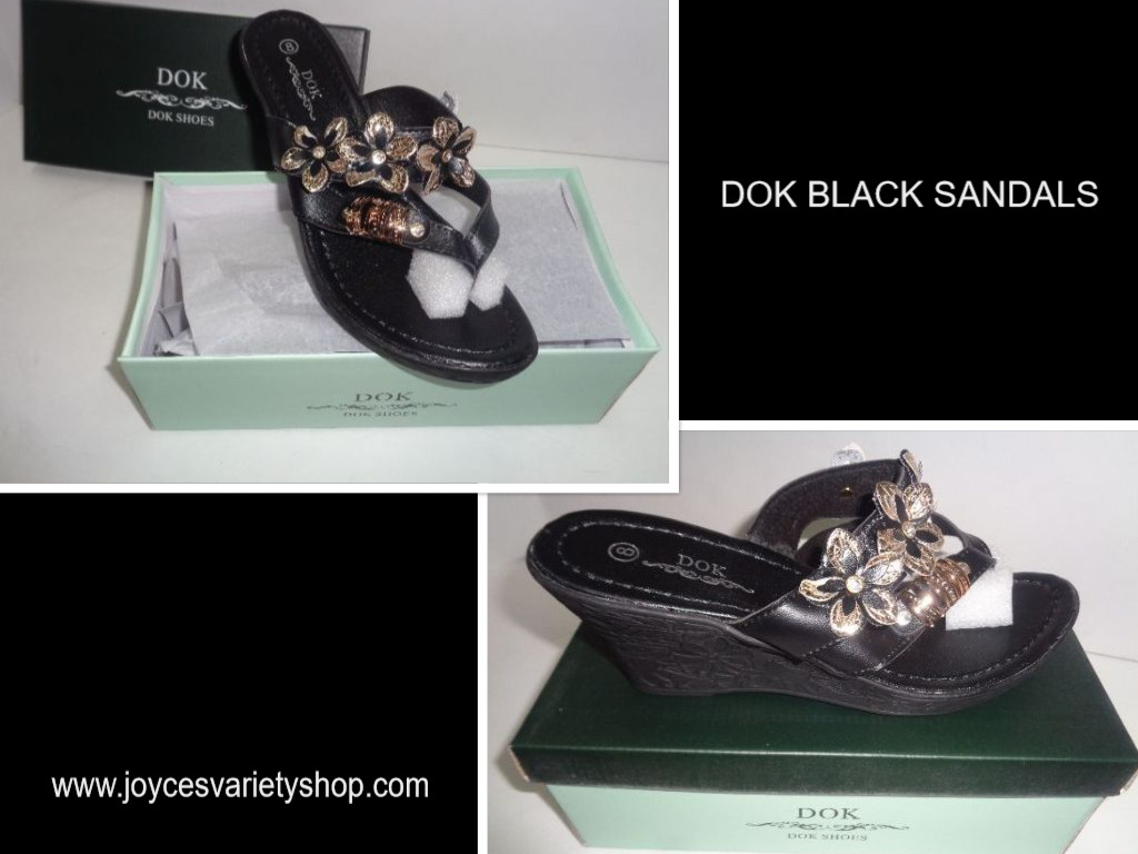 Women's Black Mule Sandals Floral & Gold DOK NIB Sz 8 Low Heel