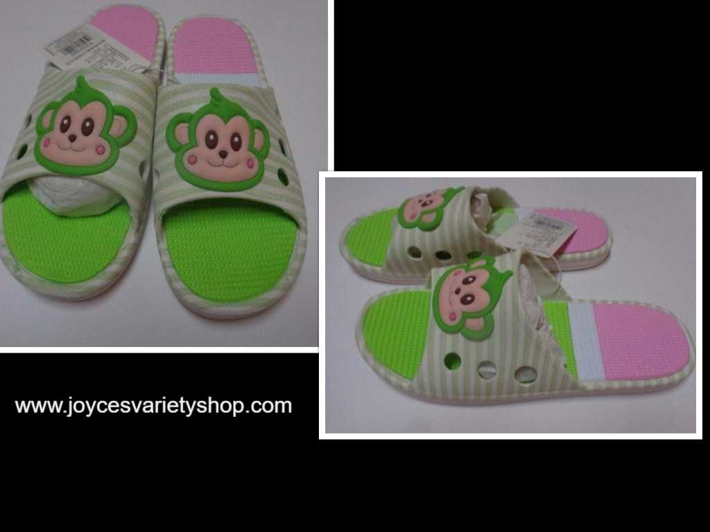 Women's Slip On Sandals Shoes Monkey Face Pink & Green Sz 8 NWT