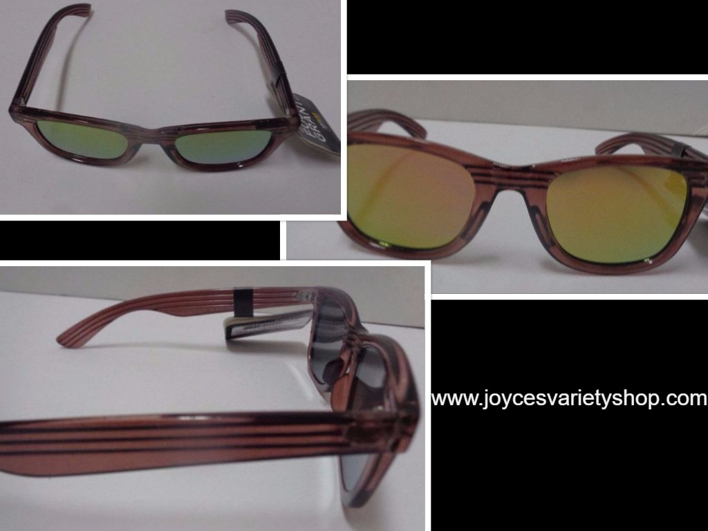 Foster Grant Sunglasses Wood Design Frame Mirrored NWT 100% UVA UVB Protection