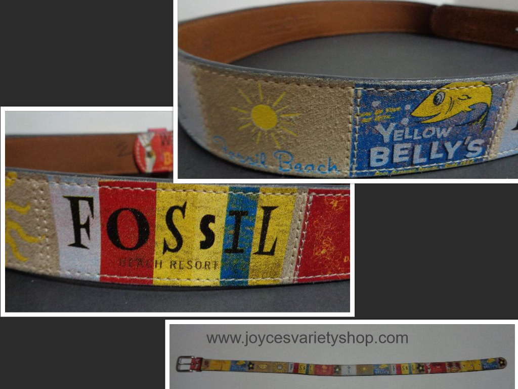 "Womens Leather FOSSIL Belt Colorful Graphics Beach Theme Waist 34""- 38"""