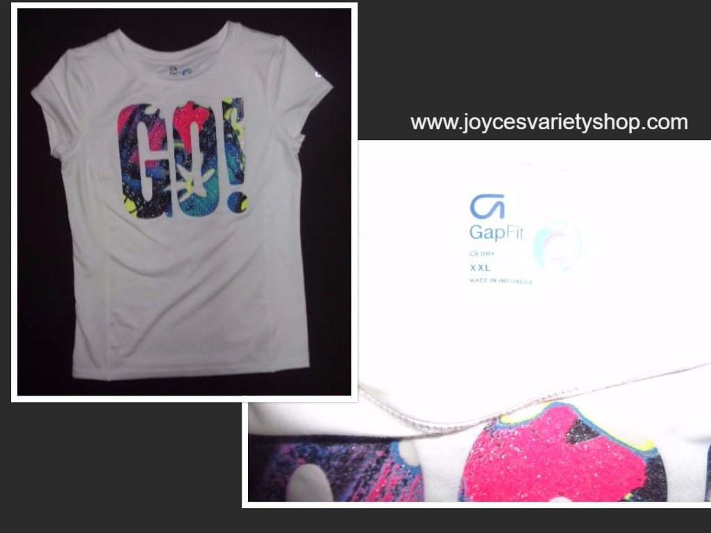 GAP Fit Dry White Multi-color GO! T-Shirt Sz XXL